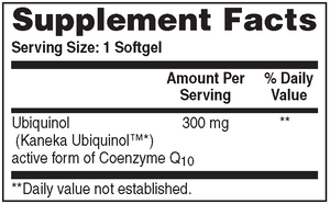 Supplement Facts for Health Thru Nutrition Ubiquinol Kaneka™ CoQ-10 300mg