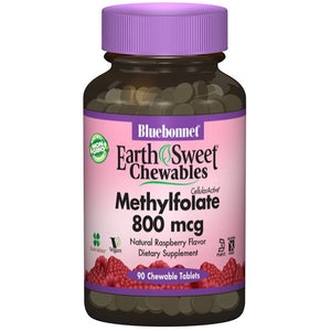 A bottle of Bluebonnet EarthSweet® Chewables CellularActive® Methylfolate