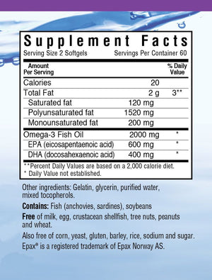 Supplement Facts for Bluebonnet Omega-3 Heart Formula
