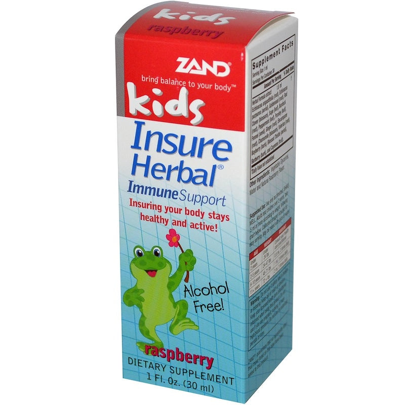 A package of Zand Kids Insure Herbal Formula Raspberry