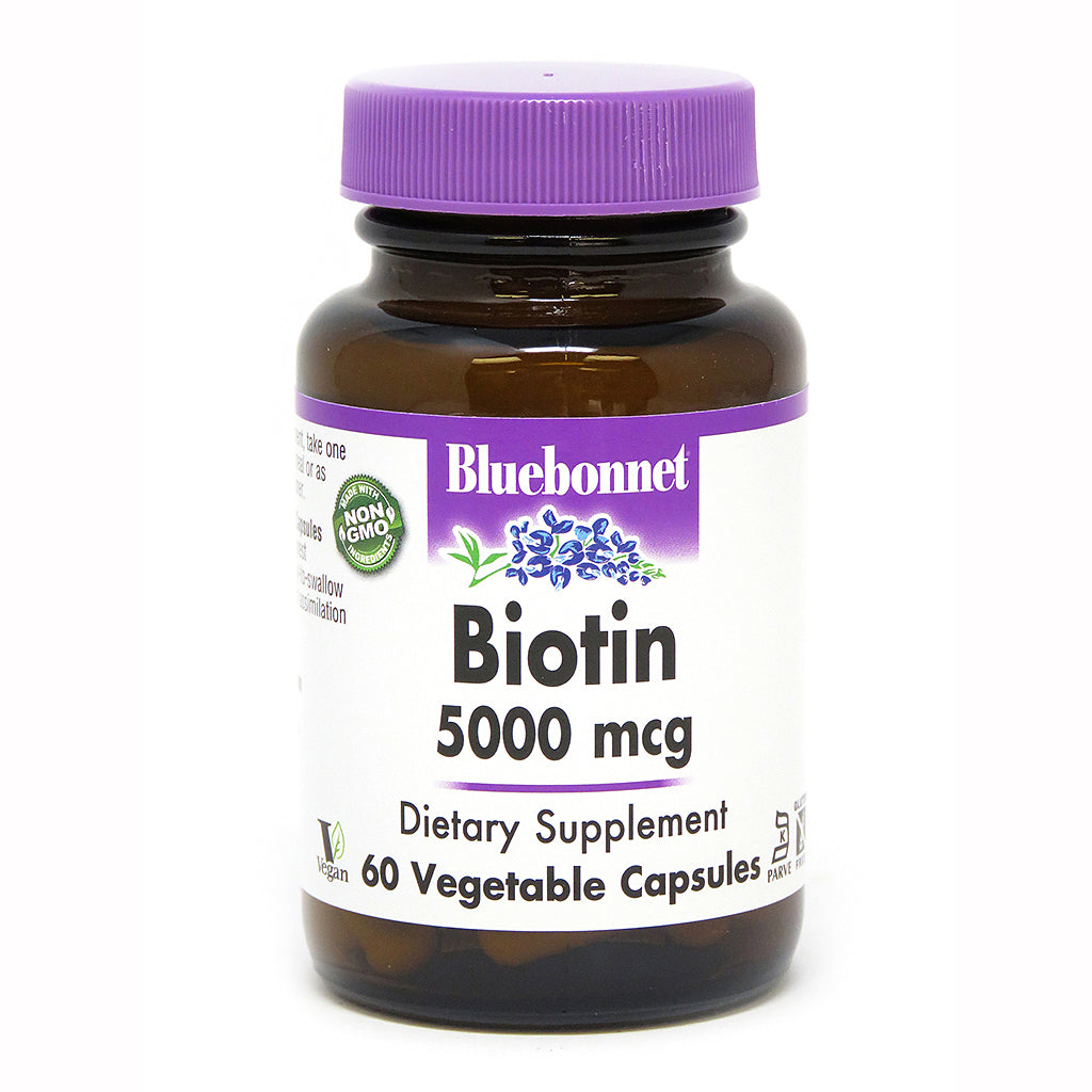A bottle of Bluebonnet Biotin 5000 mcg