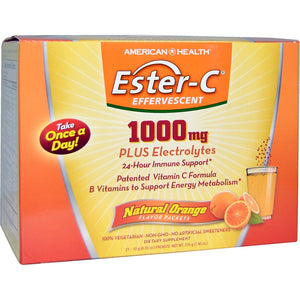 A box of American Health Ester-C® 1000 mg Effervescent Orange Powder - 21 Packets