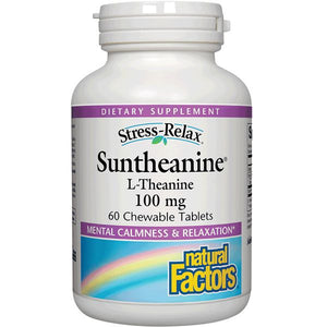 A bottle of Natural Factors Stress-Relax® Suntheanine® L-Theanine 100 mg Chewable