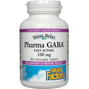 A bottle of Natural Factors Stress-Relax® Pharma GABA® 100 mg Chewable