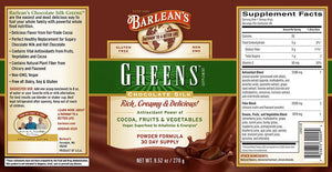 The full label of Barleans Chocolate Silk Greens™ Powder with Additional Information and Supplemental Facts