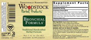 A label with Supplemental facts for Woodstock Herbal Products Bronchical Formula
