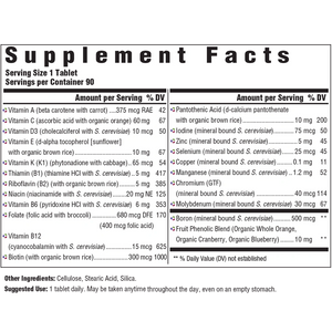 Supplement Facts for Megafood One Daily Iron Free