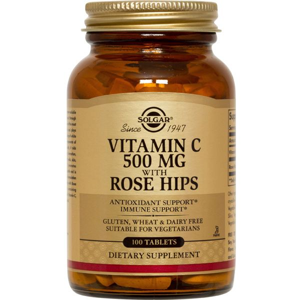 A bottle of Solgar Vitamin C 500 mg with Rose Hips