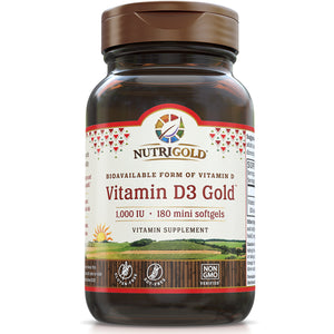 A bottle of NutriGold Vitamin D3 Gold 1000 IU - Mini Softgels