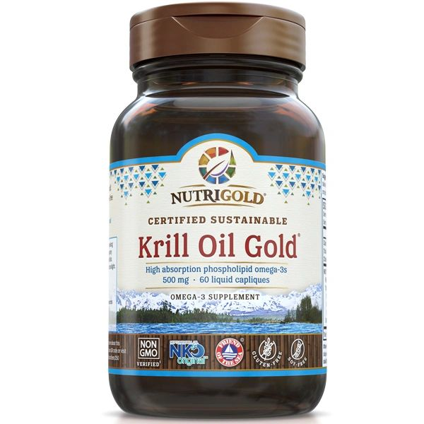 A bottle of NutriGold Krill Oil Gold