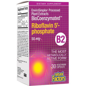 A package for Natural Factors BioCoenzymated™ Riboflavin 5'-phosphate 50 mg