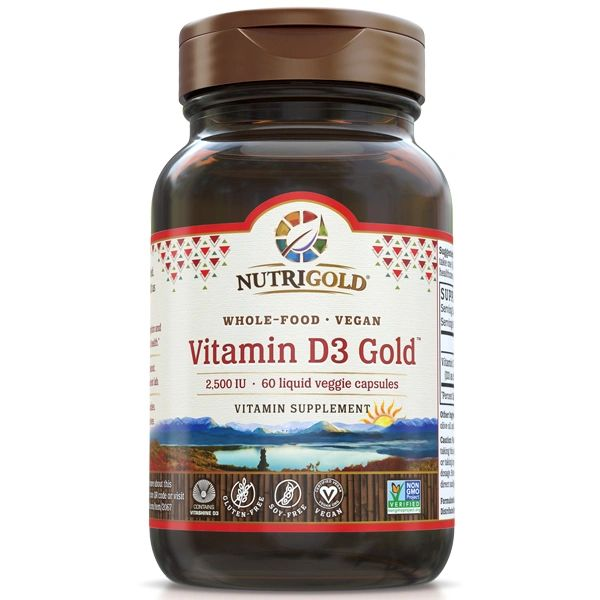 A bottle of NutriGold Vitamin D3 Gold 2500 IU (Vegan)