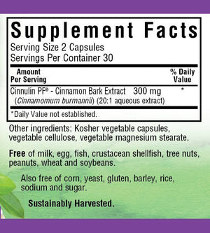 Supplement Facts for Bluebonnet Cinnulin PF® Cinnamon Bark Extract