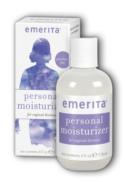 A bottle and package for Emerita® Personal Moisturizer 4 oz