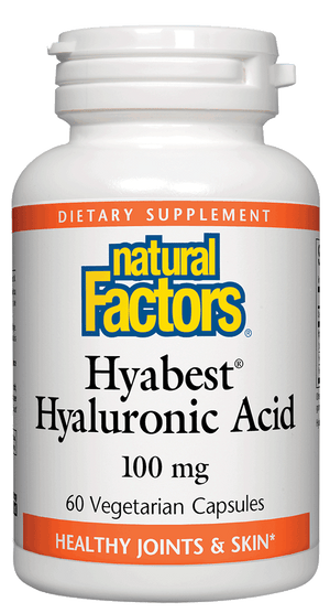 A bottle of Natural Factors Hyabest® Hyaluronic Acid 100 mg