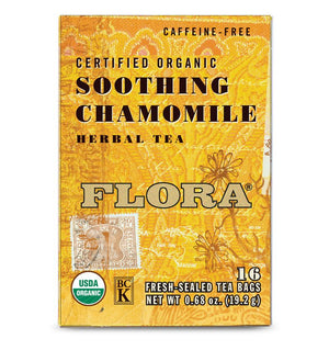 A box of Flora Soothing Chamomile Tea