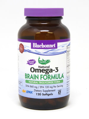 A bottle of Bluebonnet Omega-3 Brain Formula