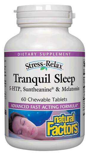 A bottle of Natural Factors Stress-Relax® Tranquil Sleep Chewable