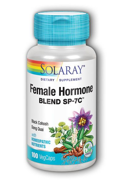 A bottle of Solaray Female Hormone Blend SP-7C