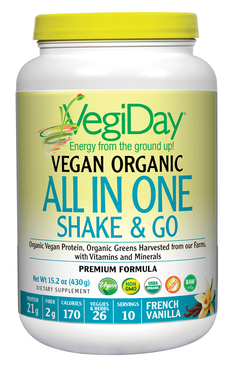 A bottle of Natural Factors VegiDay® Vegan Organic All In One Shake & Go French Vanilla