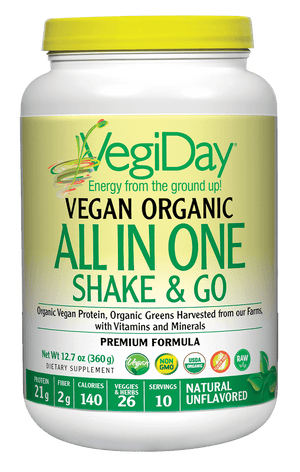 A jar of Natural Factors VegiDay® Vegan Organic All In One Shake & Go Natural Unflavored