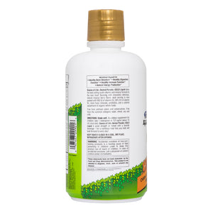 The side of the bottle with additional information for Nature's Plus Animal Parade® GOLD Liquid - Children's Multi - Tropical Berry