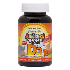 A bottle of Animal Nature's Plus Parade Vitamin D3 500 IU Chewable