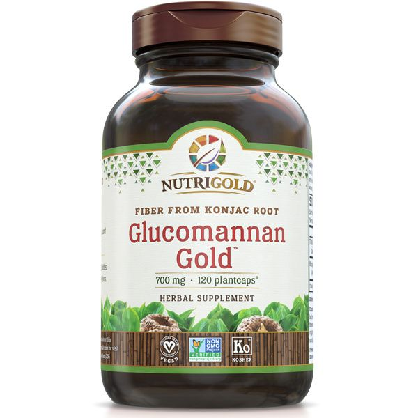 A bottle of NutriGold Glucomannan Gold