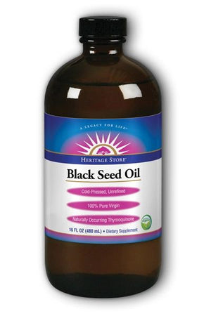 A bottle of Heritage Store Black Seed Oil