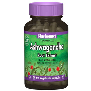 A bottle of Bluebonnet Ashwagandha Root Extract