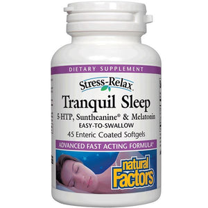 A bottle of Natural Factors Stress-Relax® Tranquil Sleep®
