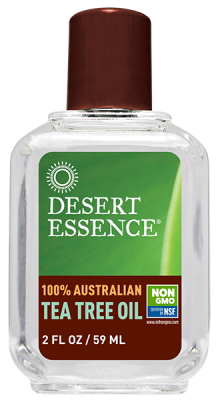 A bottle of Desert Essence  Australian Tea Tree Oil 2 fl oz