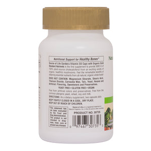 Side of bottle with additional facts for Nature's Plus Source of Life Garden Vit D3 5000 IU