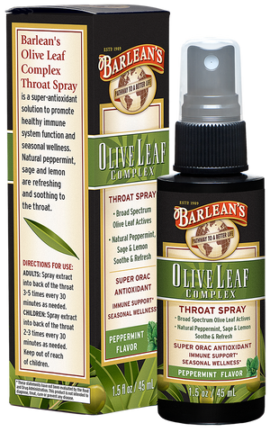 A package and bottle of Barleans Olive Leaf Complex Throat Spray