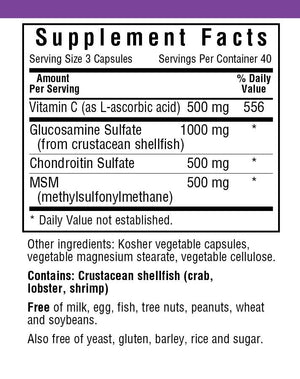 Supplement Facts for Bluebonnet Glucosamine Chondroitin Plus MSM