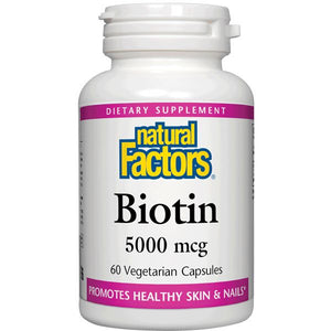 A bottle of Natural Factors Biotin 5000 mcg