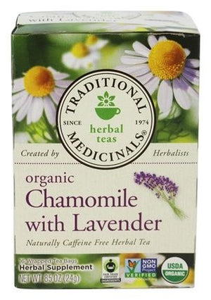 A box of Traditional Medicinals Chamomile with Lavender Tea