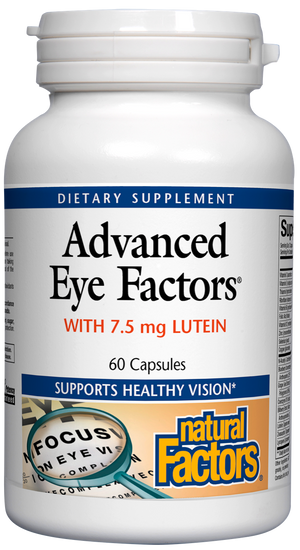 A Bottle of Natural Factors Advanced Eye Factors with 7.5 mg Lutein