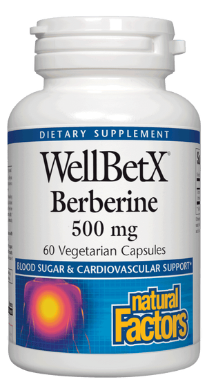 A bottle of Natural Factors WellBetX® Berberine 500 mg