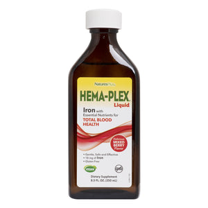 A bottle of Nature's Plus Hema-Plex Liquid Iron 8.5 Fl Oz