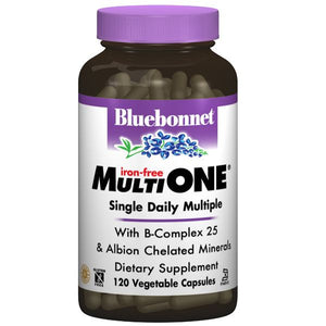 A bottle of Bluebonnet Iron-Free Multi One® Formula