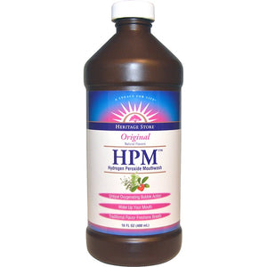 A bottle of Heritage Store HPM™ Hydrogen Peroxide Mouthwash