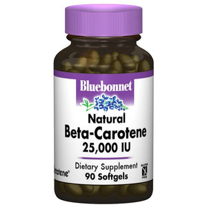 A bottle of Bluebonnet Natural Beta-Carotene 25 000 IU
