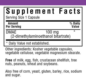 Supplement Facts for Bluebonnet DMAE 100 mg