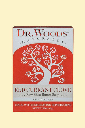 A package for Dr. Woods Red Currant Clove Bar Soap