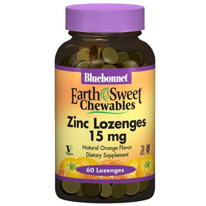 A bottle of Bluebonnet EarthSweet® Zinc 15 mg Lozenges