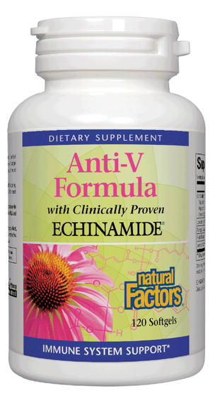 A bottle of Natural Factors ECHINAMIDE® Anti-V Formula