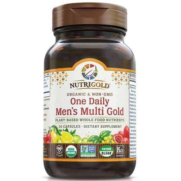 A bottle of NutriGold One Daily Men's Multi Gold