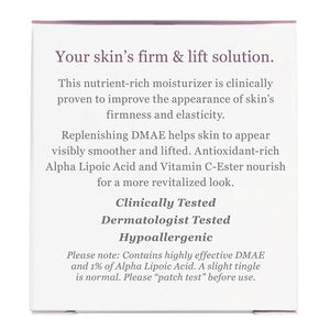 Side of package with additional information for Firming DMAE Moisturizer with Alpha Lipoic & C- Ester