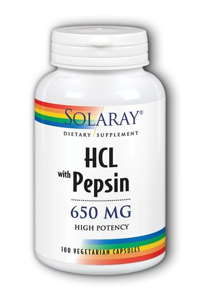 A bottle of Solray HCL with Pepsin 650 mg High Potency